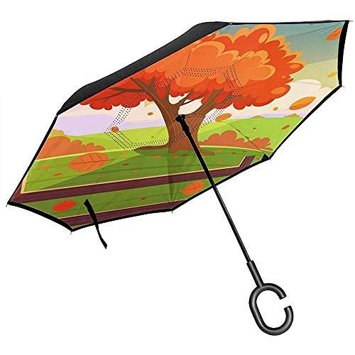 Merle House Autumn Tree Fallen Leaves Zaun-Umkehrschirm-Doppelschicht-Umkehrschirme für den Auto-Regen im Freien mit C-förmigem Griff