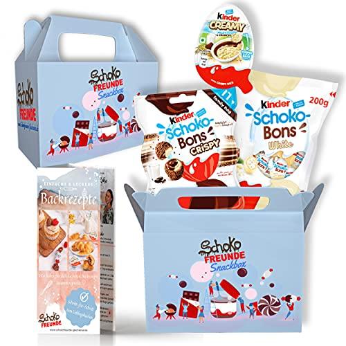 SchokoFreunde Geschenke® Snack-Box inkl. Schoko Bons Crispy, weiße Schokobons und Kinder Creamy, Ferrero Kinderschokolade Geschenkbox, Besonderer Süßigkeiten Mix für Erwachsene und Kinder