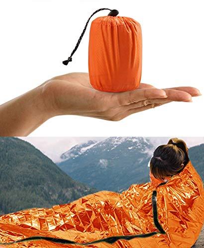 HONYAO Saco de Dormir Emergencia, Mantas Termica de Aluminio, Supervivencia Bivy para Vivac, Cámping, Excursionismo, Trekking.