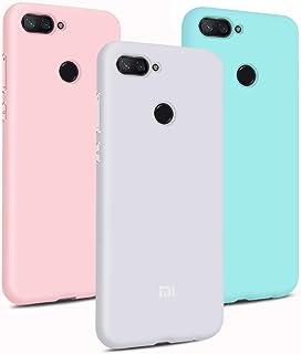 3X Funda Xiaomi Mi 8 Lite Ultrafina Delgado Cover Color Caramelo Suave TPU Silicona Goma Flexible Protector Trasero Carcasa Gel Case Anti-rasguños - Rosa + Blanco + Azul Claro