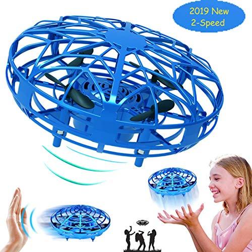 Taipow Drone Juguete para niños, RC UFO Helicóptero Accionado a Mano Juguete Bola Volador Interactivo de inducción infrarrojo, Regalos para niños y niñas-Azul