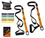 AKLAAS Bodyweight Suspension Trainer + Door Anchor +5 Exercise Loop Bands | Home Suspension System Training Straps | Exercise Booklet | Home&Travel