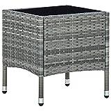 vidaXL Gartentisch Beistelltisch Gartenmöbel Tisch Balkontisch Loungetisch Couchtisch Kaffeetisch Terrassentisch Grau 40x40x45cm Poly Rattan