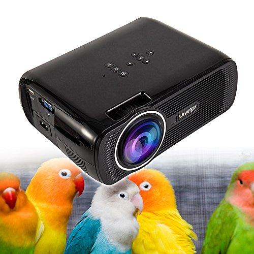 New_Soul Proyector Cine en Casa Projector 1080p 3D U80 3000 Lumens LED Mini Vídeo Proyector Portatil Apoyo HDMI VGA USB SD para PC TV Laptop Game Smartphone TV Box (Negro)