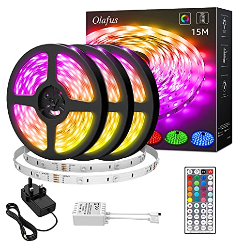 Olafus 15M LED Strip Lights with Power Adapter, 44 Keys Remote Control 450 Units 5050 LED 30 LEDs/M Dimmable Color Changing Light Strips, Rope Lights, Colored Strip Lighting for Party, Bedroom