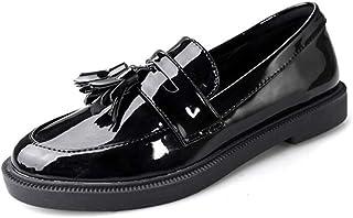 レディースオックスフォード靴秋干潟ヒール学生ヴィンテージタッセルローファー靴