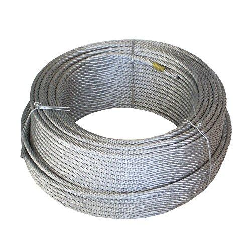 WURKO 12012008-Cavo in acciaio zincato 4 mm, 6 x 7 x 100 mt-1 rotolo.