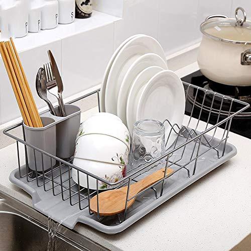 Geschirrkorb Moderne Küche Robustes Edelstahl Metalldraht Geschirrtrockner Gestell mit Abflussbrett Besteckbecher Utensilien Organizerhalter für Küchenzeile zu Hause,B
