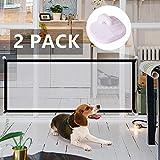 Valla De Seguridad para Perros 2 PCS, Valla Protectora Valla De Aislamiento Plegable Red Portátil Barrera para Mascotas para Escaleras Dormitorio Cocina Entrada (Color : 2*Black 180 * 72cm)