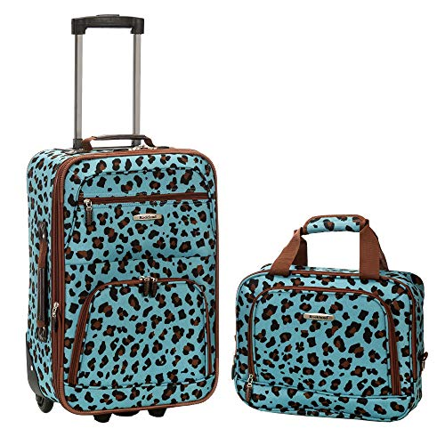 Rockland Fashion Softside Upright Luggage Set, Blue Leopard, 2-Piece (14/20)