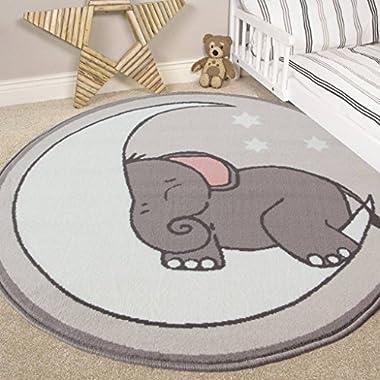 The Rug House Nursery Style Elephant, Moon and Stars Kids Baby Room Childrens Floor Area Rug Mat