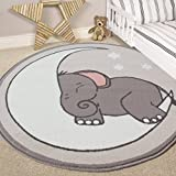 Alfombra para cuarto de bebé con diseño de luna, estrellas y elefante, estilo guardería , Gris, 120cm (3'11') Diameter