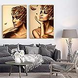 N / A Pintura sin Marco Hermosa Mujer Dorada póster Lienzo decoración Moderna de la Pared Arte para Sala de Estar dormitorioZGQ7501 35X50cmx2