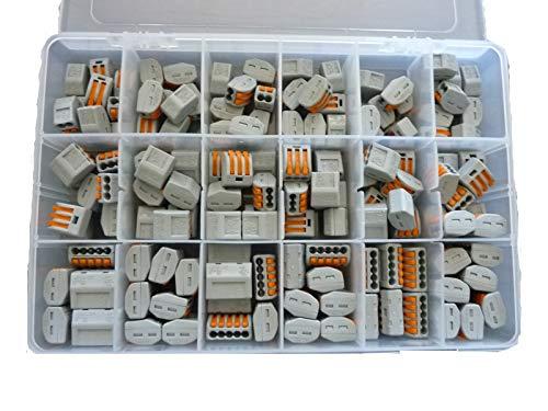 Wago Verbindungsklemme Sortiment 140 Stück gemischt Typ 222-412, 413, 415 + Kunstoffbox mit leichten Kratzern