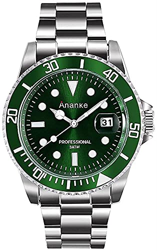 QHG Reloj de Acero Inoxidable Impermeable de Cuarzo para Hombre con Calendario de Fecha dial analógico Resistente a los arañazos (Color : Green Dial)