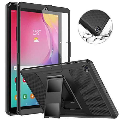 MoKo Case Fit Samsung Galaxy Tab A 10.1 2019, [Heavy Duty] Shockproof Full Body Rugged Stand Back Cover Built-in Screen Protector for Galaxy Tab A 10.1 inch SM-T510/SM-T515 2019 Tablet - Black