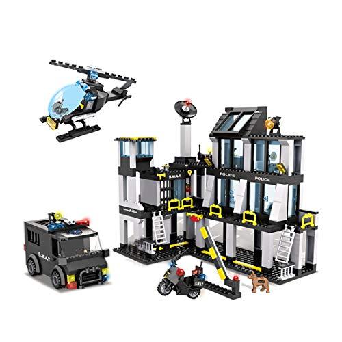 Mecotecn 743 piezas de construcción de la estación de policía de la ciudad con coche de policía, helicóptero, motocicleta y 5 figuras, compatible con bloques de construcción militar Lego