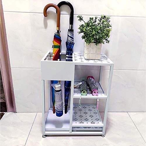 XCZZYC Soporte Multifuncional para Paraguas con Zapatero, Gancho y Bandeja de Goteo extraíble, Almohadillas Ajustables para Evitar Suelos Irregulares, paragüero Interior, 53x28x43cm