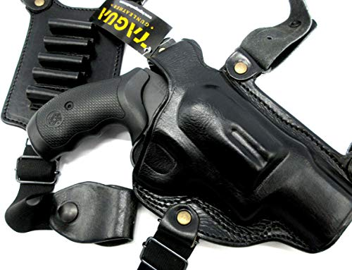 """HOLSTERMART USA TAGUA Right Hand Black Leather Premium Shoulder Holster with Shell Carrier for S&W Governor Revolver, 2.75"""""""