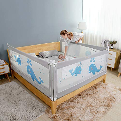Best Price LYXCM Bed Guard Rail for Toddlers, Height Adjustable Portable Baby Bed Safety Rails with ...