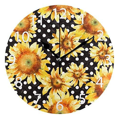 Night Ing Girasol Floral Lunares Reloj de Pared Redondo Reloj de Escritorio Decorativo para la Escuela de la Oficina en casa