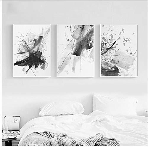 LYFCV Nordic Wall Artwork immagini di stampa HD nero bianco acquerello Poster Home Decoration tela dipinto Modulares soggiorno 50 x 70 cm x 3 senza cornice