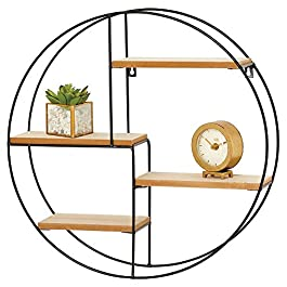 mDesign Round Metal Wall Mount Display Organizer Holder, 4 Shelf – to Store and Show Off Small Collectibles, Figurines, Mugs, Succulent Plants – Black/Natural