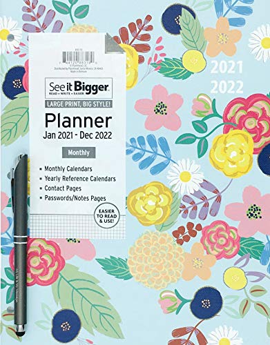 PlanAhead Home/Office 2-Year Monthly Planner, January 2021 - December 2022, 8.5 x 11 Inches and Ultima Stylus Inspirational Pen 'My Life is My Message'. (Flowers)