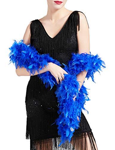 Coucoland 1920s Flapper Federboa Charleston Tanzen Flauschige Feder Boa für Halloween Party Gatsby Kostüm Zubehör Damen Fasching Karneval Accessoires 180 cm Lang (Blau)