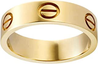 Love Rings Promise with Screw Design Wedding Band Ring Titanium Stainless Steel Rings for Men and Womens her Couples Best Gift
