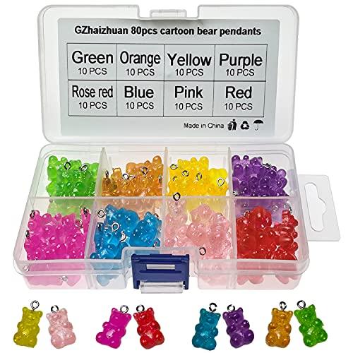GZhaizhuan - 80 colgantes de osito de resina para manualidades, collar, pulsera, llavero, accesorios de decoración (8 colores)