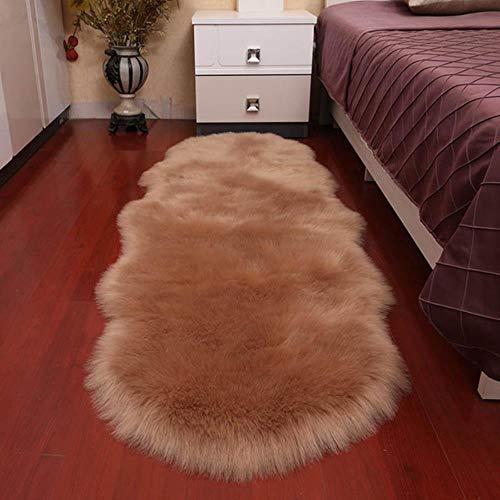 KKDIY Alfombra de lana sintética suave para sala de estar, sofá cama, alfombra de felpa, cubierta de dormitorio, colchón, puerta, ventana, alfombrilla de bahía