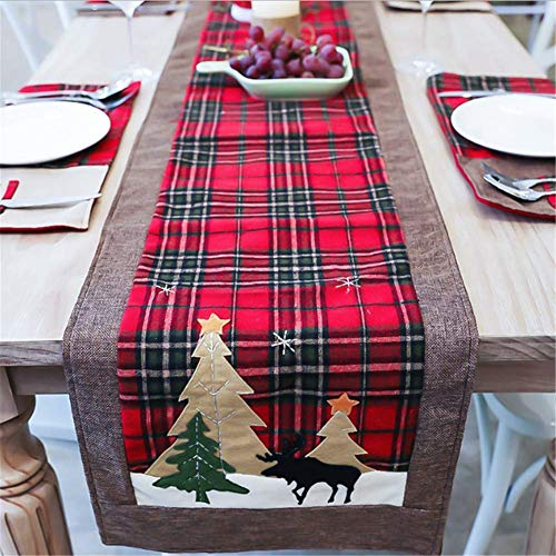 Stangent Christmas Plaid Print Square Table Decoration Family Christmas Holiday Table Fabric Christmas Dinner Party Table Decor (178 x 35,6 cm)