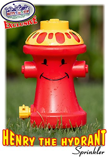 Matty's Toy Stop Henry The Hydrant Water Sprinkler for Kids, Attaches to Standard Garden Hose & Sprays Up to 10 Feet High & 16 Feet Wide, Measures 10.75' High