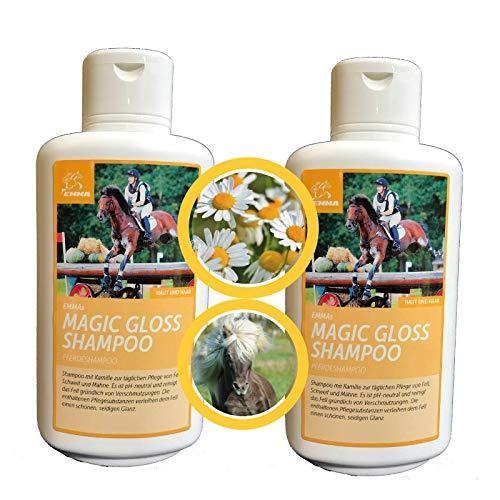 EMMA Shampoo Economico per Cavalli I Cura del Cavallo I Cura del Cavallo I Cura del Cappotto I Shampoo per Cavalli e Cani I Camomilla e proteine I Pulizia Delicata, PH Neutro 2 x 500 ml