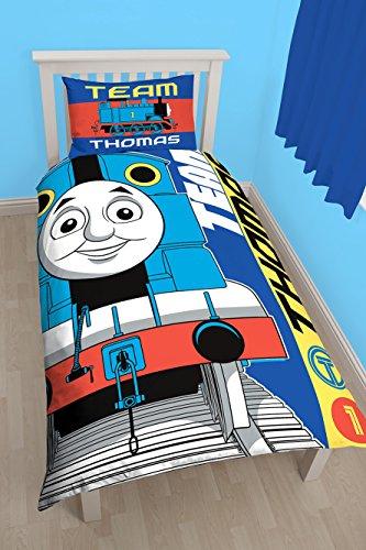 Thomas The Engine 'Team' - Juego de Funda nórdica para Cama Individual, diseño Estampado Grande