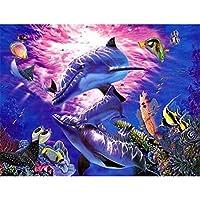 5D DIYダイヤモンド塗装 イルカの動物 ダイヤモンド塗装キット大人と子供の家の壁の装飾壁アート-(16x20inch)フレームレス