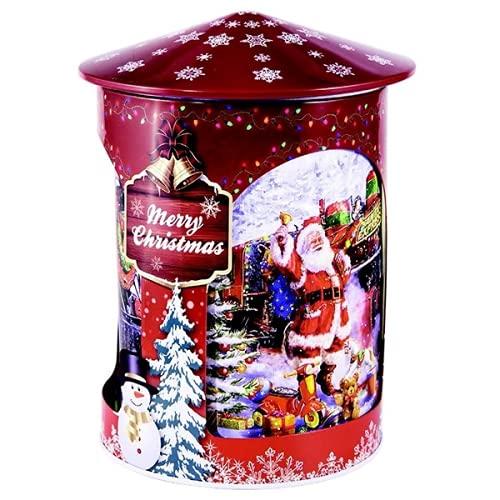 Grandma Wild's Lattina Metallo Girevole con Carillon Musicale Decori Natale con Biscotti al Burro e Gocce di Cioccolato - 1 x 200 Grammi