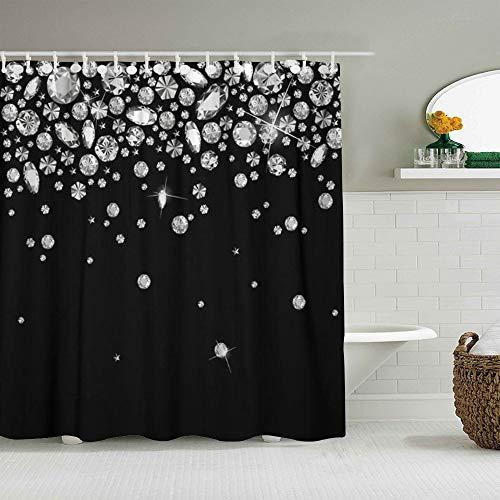 SUHOM Duschvorhang,Schmuck Falling Gems Abstract Glänzender Diamant Regen Kristall,personalisierte Deko Badezimmer Vorhang,mit Haken,180 * 210