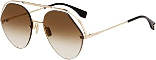 Fendi FF 0326/S 09Q HA Brown Metal Aviator Sunglasses Brown Gradient Lens, 57-21-140