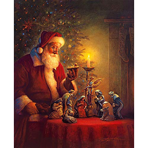 Bnnauv DIY Diamond Painting Cross Stitch Santa Claus Diamond Painting Kits for Adults Kids 5D Round Full Drill Art Painting Perfect for Relaxation and Wall Decor40x50cm (Noframe)