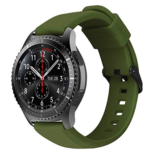 MroTech Bracelet Compatible avec Samsung Gear S3 Frontier/Classic/Galaxy Watch 46mm/Galaxy Watch 3 45mm Bracelet 22mm en Silicone de Montre Bande Rechange pour Smartwatch Sport Band 22 mm-Olive Verte