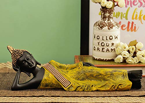 TIED RIBBONS Sleeping Buddha Figurine Statue with Antique Finish for Home Garden Decoration