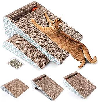 LotFancy 2 en 1 Griffoirs pour Chats en Carton à Gratter pour Chats Amovible avec Une Boule et du Catnip, Griffoir Chat Canapé à Usages Multiples, Intéressant, Confortable