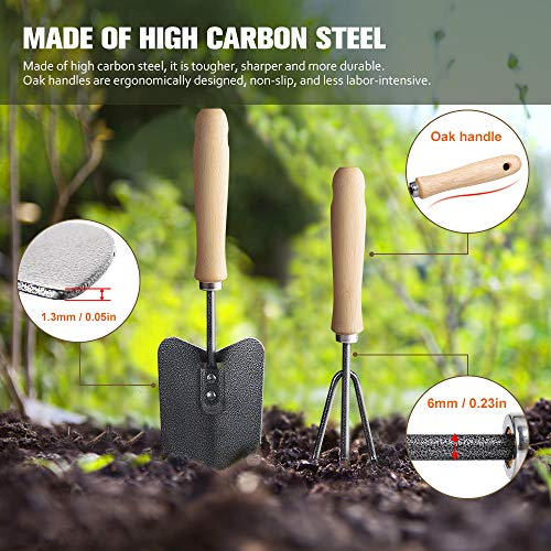 Garden Tools Set, 12 Pieces Gardening Tools Ergonomic Comfortable Handle and Heavy Duty Hoe Rake Trowel Transplanter Weeder Professional Pruner Sprayer Rope Kit with Organizer Bag for Kids Women Men
