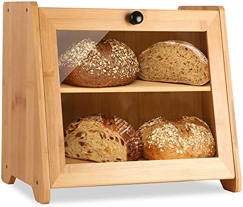 BetterMaison Large Bamboo Bread Box for Kitchen Countertop, 2 Layer Wooden Bread Boxes for Kitchen Counter Extra Large, Farmhouse Bread Holder with Clear Window and Adjustable Shelf (Self-Assembly)