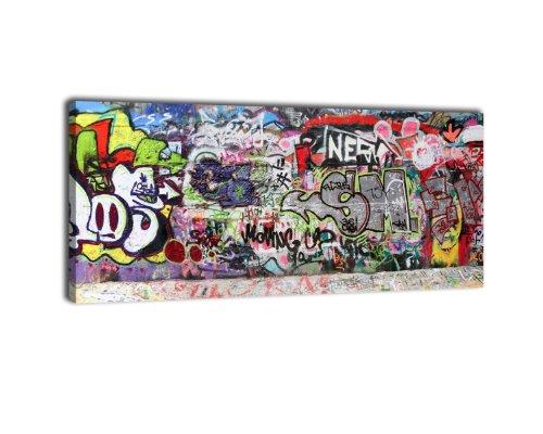 wandmotiv24 Leinwandbild Panorama Nr. 70 Graffiti 2 100x40cm, Keilrahmenbild, Bild auf Leinwand, Kunstdruck Street Art Tagging Bunt