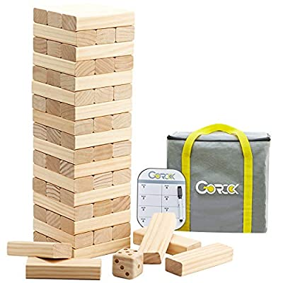 Gorock Giant Tumble Tower, Stacking Timber with Scoreboard | Dice | Carrying Bag, 56 PCS Wooden Block Building Game for Kids Adults Family(Stacks Up to 4.2 FT) by GOROCK