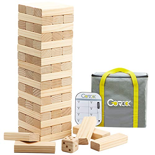 Gorock Giant Tumble Tower, Stacking Timber with Scoreboard   Dice   Carrying Bag, 56 PCS Wooden Block Building Game for Kids Adults Family(Stacks Up to 4.2 FT)