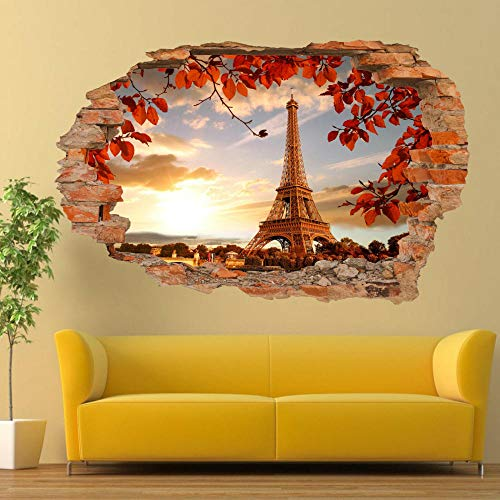 3D Vinilo Calcomanías FRANCIA PARIS TORRE EIFFEL 50X70 CM Vinilo Mural Calcomanías Decorativas para Dormitorio pegatinas de Papel de Pared Desmontable.